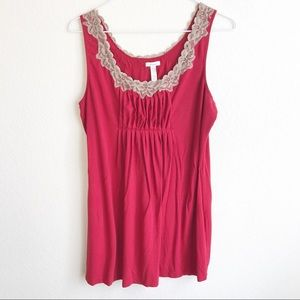 Soma • Red Tank with tan lace, size M